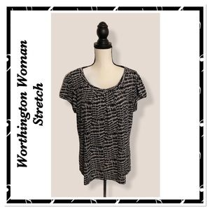 🆕Worthington Woman Stretch Short Sleeve Print Top